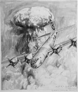 Le bombardier Enola Gay et l'explosion d'Hiroshima