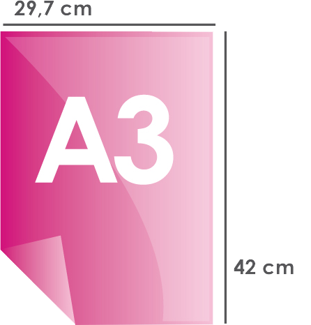 Format papier A3 297 x 420 mm