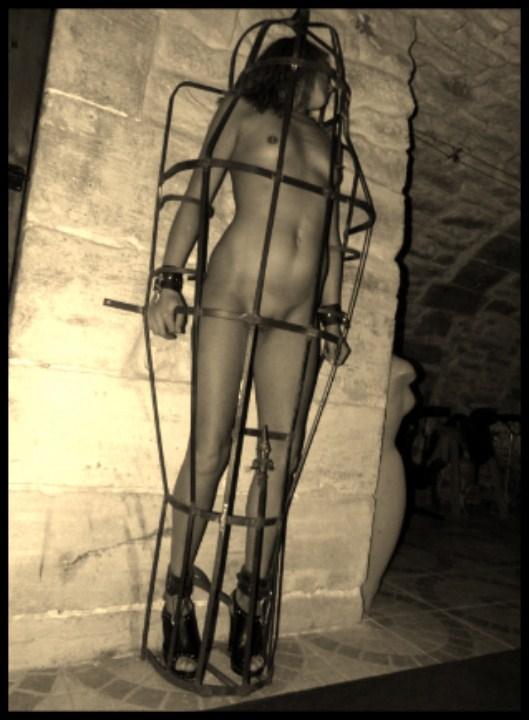 Femme membre cage louer des trous