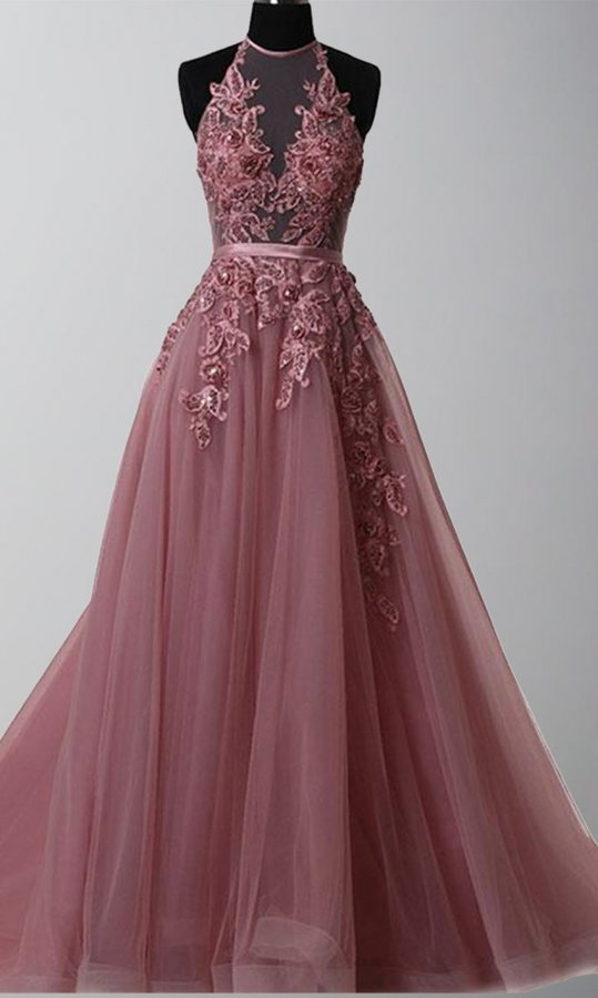 Halter Illusion Embellishment Long Prom Gowns KSP493