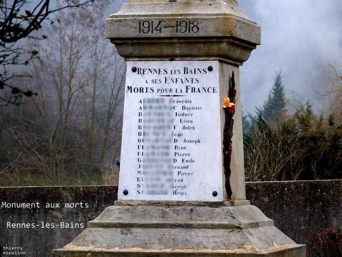 monument aux morts de Rennes-les-Bains Thierry Espalion