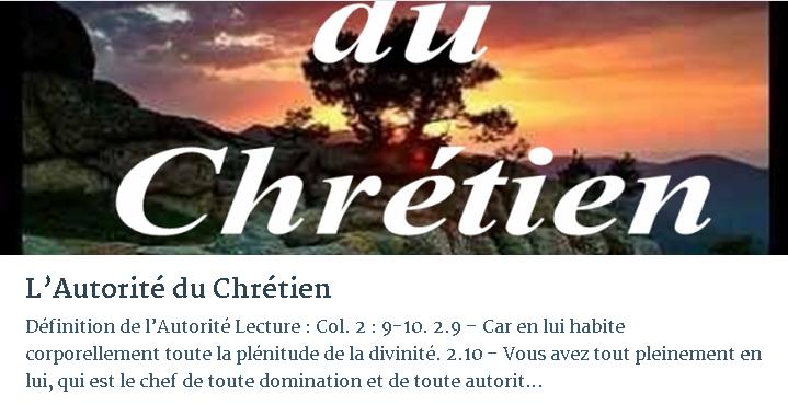 L'AUTORITÉ DU CHRÉTIEN