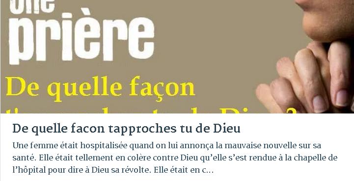 DE QUELLE FACON TAPPROCHES TU DE DIEU